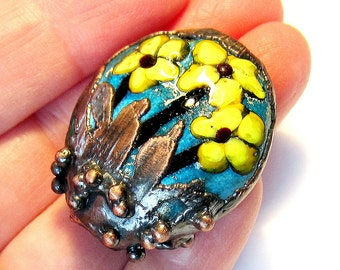 Handmade Lampwork Glass Focal Bead yellow flowers copper electroformed