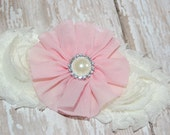 Pink and Ivory Shabby Chic Chiffon Rose & Pearl Headband - Newborn Headband - Baby Headband - Toddler