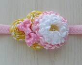 Pink and Yellow Double Dahlia Headband for Girls from All Things Ribbon