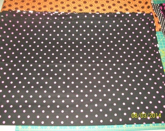 1pr Black w/PINK polka dots valances. Each piece is 42x14...total is 84x14