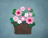 handmade crochet basket with pink flowers with green leaves --  2013