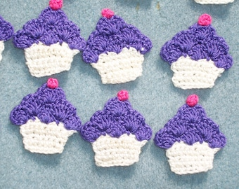 12 cotton thread crochet applique cupcakes with violet purple frosting  --  2302