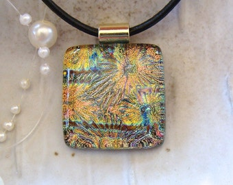 Fused Dichroic Glass Pendant, Glass Jewelry, Gold, Copper, Necklace Included
