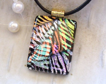 Dichroic Pendant, Fused Jewelry, Glass, Gold, Pink, Silver, Copper, Green, Necklace Included, OOAK, A4