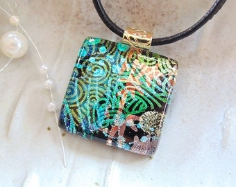 Dichroic Glass Pendant, Necklace, Glass Jewelry, Necklace Included, One of a Kind, Green, Copper, Gold, A2