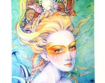 Mermaid Princess Postcard - Sea Shells and Fish - Stationary - Watercolor Art