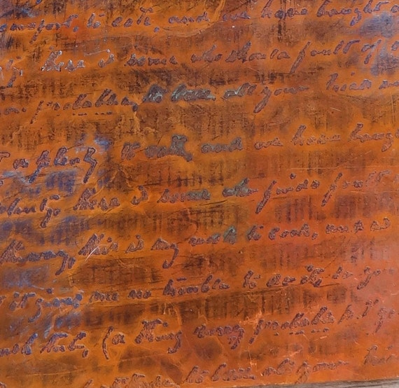 Etched Copper Sheet Metal Patina Copper French Writing