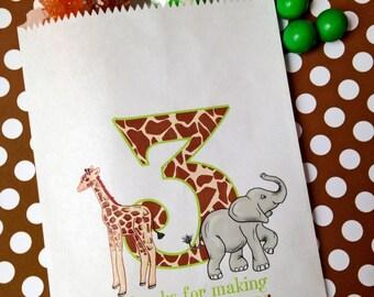 Zoo Favor bags, Safari Jungle Favor bags, Jungle Safari Favors,Giraffe , Elephant, Animal print  Number, Children, Kids