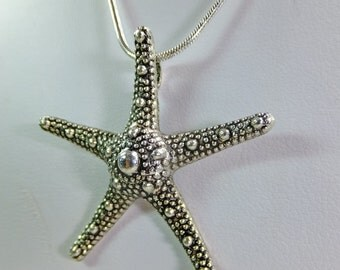 Metal Starfish Pendant on a Silvery Chain