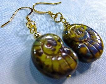 Lime Green and Gray Glass Shell Beads Dangle Earrings