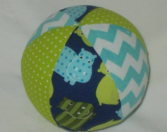Blue Hippos Fabric Boutique Ball Rattle Toy
