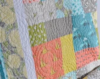 Modern Gender Neutral Boy Girl Lap Quilt Sofa Patchwork Throw Bluebird Park Fabrics by Moda Hedgehogs Squirrels Bicycles MADE TO ORDER