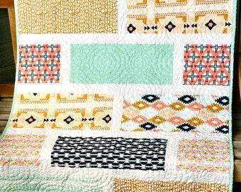 Arizona Quilt Modern Baby Quilt Southwest Crib Cot Quilt Blanket Bedding, Tribal Aztek Patchwork Coral Mint Green Navy Gender Neutral  Quilt