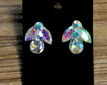 Rhinestones earrings 1 pair... crystal ab ......costume, pageant, jewelry, crafts..wedding