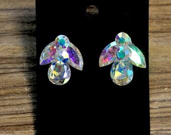 Rhinestones earrings 1 pair... crystal ab ......costume, pageant, jewelry, crafts..wedding