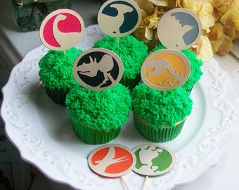 Dinosaur Cupcake Picks - Cup Cake Decoration - You Choose the Dino and Colors (set of 12)