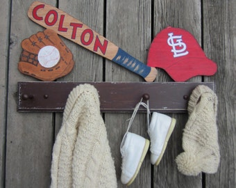 BASEBALL TEAM SPORTS Kids Clothing Rack/Towel Rack - Personalized Bat - Hand Craftred/Hand Painted Natural Wood