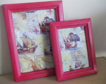 Painted Wood Picture Frame  ~ Set of 2 Red Photo Frames ~ Upcycled Painted Frame ~ Red Picture Frame
