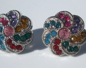 colorful sparkle swirl design rhinestone CLIP ON hand made earrings affordable unique