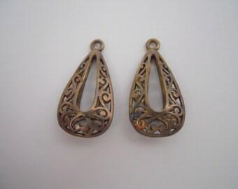 Pair Brass Vintage Drops Pendants