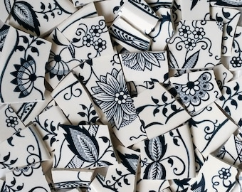 Mosaic Tiles--Vintage Blue Flowers-Navy Blue and Creamy white-100 tiles