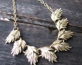 Glittering Leaves Necklace - repurposed vintage gold metal leaf links on gold metal necklace - Free Shipping to USA