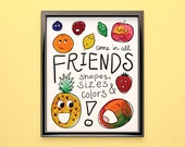 """INSTANT DOWNLOAD: Fruit Friends Poster (printable 9x12"""")"""