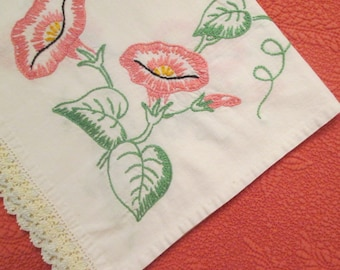 Vintage Embroidered Cotton Dresser Scarf - Morning Glory