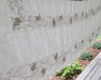 Vintage Embroidered Heavy Linen Tablecloth - Cream and Taupe Grapevines - Wedding/ Anniversary