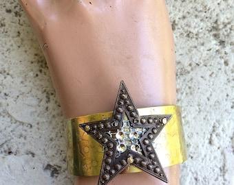 Cuff, Etched Brass Star, Victorian Jewelry, Cuff Bracelet, Victorian Bracelet, Steampunk Jewelry, Steampunk Bracelet, Steampunk Cuff, star