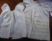 2 Antique Infant Dresses Gowns Vintage 1900s-1920s Linen Cotton Satin Pearl Buttonslace Embroidery