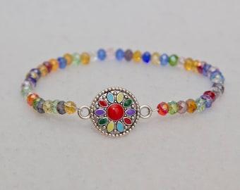 Sunflower charm bracelet, colorful beaded bracelet, flower charm bracelet, boho jewelry, hippie jewelry, lgbt bracelet, rainbow bracelet