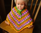 Crochet, Multicolor Baby Poncho, Size 18-24 months,yellow, pink, green, lilac,orange