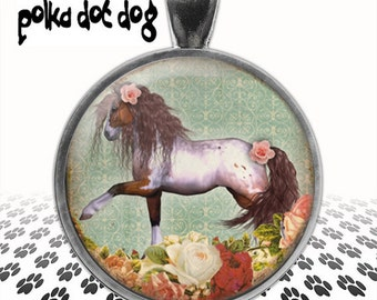Prancing Pony -- Vintage Style Horse and Rose Large Glass-Covered Pendant