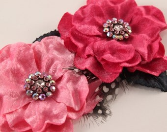 Pink Velvet and Rhinestone Flowers  - 2 pcs - Feathers, Millinery, Altered Couture, Hair Flowers - Embellishment