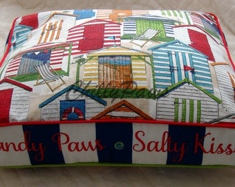 Dog Bed - Beach Bed - Custom Pillows - Sandy Paws and Salty Kisses - Personalization Included