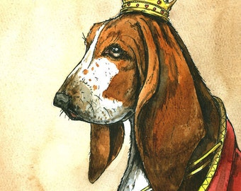 Basset Hound Queen (an original hand painted queen)