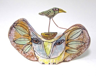 "Owl and Bird, Clay sculpture, OOAK, ""Owl and the Beauty Bird Embarking on a New Journey"", 8.25"" wide"