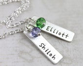 Bar Necklace, Custom Name Jewelry, Gift for Mom, Personalized Necklace, Birthstone Jewelry, Custom Hand Stamped, Minimal Necklace