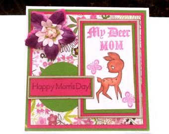 Mother's Day card, Card for Mother's Day, Punny Greeting Card, Purple, Green with Flowers, and My Deer Mom, with Deer