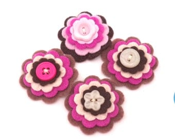 Felt Flower Embellishments, Scrapbooking, Card Making, Set of 4 with Button Centers, Raspberry, Chocolate Brown, Pink