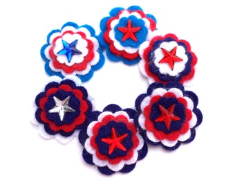 Felt Flowers, Red White Royal Blue Navy Blue with Star Faux Gems Scrapbook Embellishments, Card Making, Hair Accessories