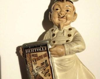 Vintage advertising Bertolli  olive oil chef figurine kitchen decor kitsch Alberto Lena  figurine made in Italy bisque