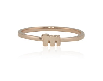 "Rose Gold Lowercase ""m"" Monogram Ring, Initial Ring in Solid Rose Gold - LS4246"