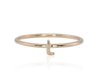 """Rose Gold Ring, Uppercase """"L"""" Tiny Initial Monogram Ring in Solid Rose Gold - LS4369"""