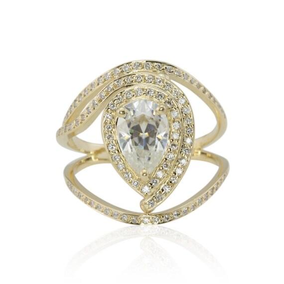 Moissanite Ring Pear Cut Moissanite Egyptian Eye Engagement