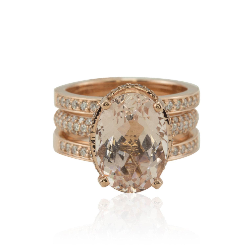 rose gold morganite ring 7 carat morganite halo engagement. Black Bedroom Furniture Sets. Home Design Ideas