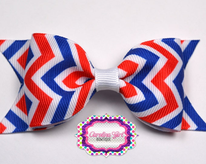 "4th of July ~ Red, White, & Blue ~ 3.5"" Bow ~ No Slip ~ Girls Barrette ~ Toddler Bow ~ Baby Hair Bow ~ Hair Clip ~ Girls Hair Bow"