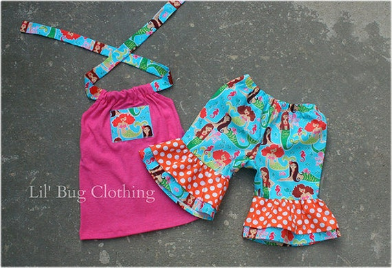 Mermaid Girl Summer Outfit, Mermaid Girl Short & Top, Mermaid Birthday Party Outfit, Boutique Girl Summer Clothes,