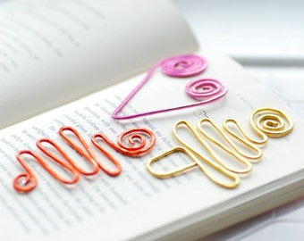 Wire Bookmarks, Fun Bookmarks, Set of 3, Colorful Bookmarks, Squiggle, Book Lover Gift, Teacher Gift, Metal Bookmarks, Librarian Gift